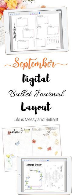 The theme for this month& September digital planner layout is fall. This time I decided to create a minimalistic layout for my weekly spread and a colorful setup for my cover page. Keep reading to learn more! Digital Bullet Journal, Bullet Journal Junkies, Bullet Journal Layout, Bullet Journal Inspiration, Bullet Journals, Journal Ideas, Journal Prompts, Journal Template, Planner Template