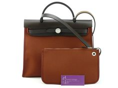 HERMES Herbag Zip-Colour-Rouge Ash -Canvas With Leather-ref;KSUC-2