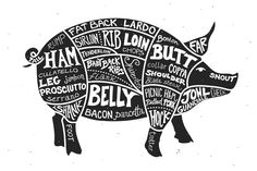 Labeled Cuts of Meat - Pig by Ramsey Creative on @creativemarket