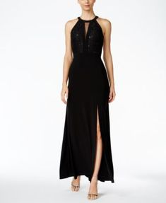 Nightway Lace-Trim Halter Gown $99.00 Make heads turn in this Grecian-inspired lace bodice gown by Nightway, complete with front slit and keyhole detail at bust.
