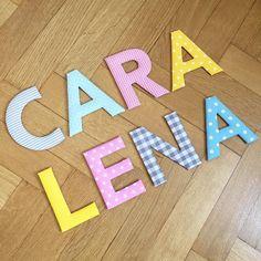 Kundenwunsch: farbenfrohe Stoffbuchstaben für die Zimmertüren der beiden Schwestern Cara und Lena  #stoffbuchstaben #handmade #handgemacht #handmadeinmunich #handmadewithlove #wanddeko #wallletters #doorletters #name #individuell #girlsroom #dawandashop