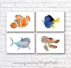 Finding Nemo Watercolor Wall Art Poster Set - Nursery Decor