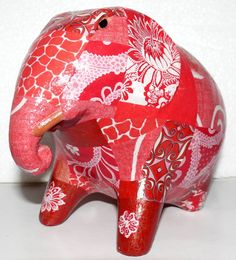"""Red Decorated Elephant. Silk & Pepper adds a """"touch of elegance"""" ORIGINAL & UNIQUE CREATIONS FOUND ONLY AT SHOP SILK & PEPPER Created and made by Valérie.B. #Elephants #PhnomPenh"""