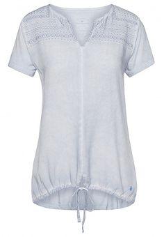 T-Shirt mit Stickerei und Tunnelzug für Frauen (unifarben, kurzärmlig mit Rundhalsausschniitt und V-Öffnung) - TOM TAILOR