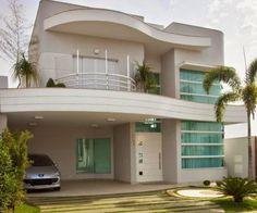 fachada-de-casas-de-dos-pisos-pequenas-con-curva-con-10-metros-de-frente #modelosdecasasdedospisos #casaspequeñasdospisos