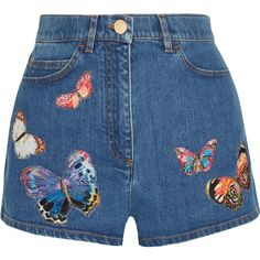 Valentino Embroidered appliquéd stretch-denim shorts (6.790 RON) ❤ liked on Polyvore featuring shorts, bottoms, blue, embroidered shorts, high rise shorts, blue short shorts, highwaist shorts and short shorts