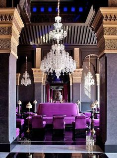 Selman #Hotel Lobby in #Marrakech. Great color palette inspiration for a dark living or dining space...  #Moroccan