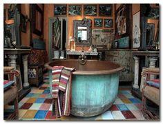 Gypsy bathroom with circular copper tub. designers block: A Treasure In Isle sur la Sorgue