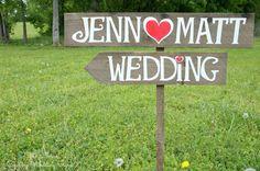 Arrow Wedding Signs, Rustic Wedding Signs, Wood Wedding Signs,Wedding Name Signs, Country Wedding Decor via Etsy