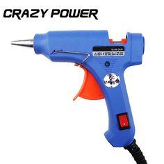 Poder loca Calentador de Alta Temperatura de Fusión En Caliente Pistola de Pegamento 20 W Herramienta de Reparación Azul Mini Pistola de Pistola de aire caliente Con El Enchufe de LA UE de Fusión En Caliente Pistola de Pegamento palos