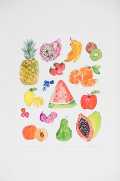 Colorful Fruits  Watercolor Illustration Print   by ShannonKirsten