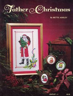 Bette Ashley Father Christmas Leaflet 1 for Counted Cross Stitch 1981 #BetteAshley