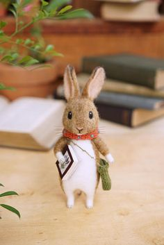 Needle felted wild rabbit with a book/handmade/poseable/decoration/gift/soft sculpture/ornament/ooak