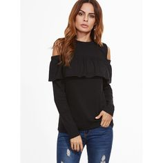 SheIn(sheinside) Black Open Shoulder Ruffle T-Shirt ($13) ❤ liked on Polyvore featuring tops, t-shirts, long sleeve polyester t shirts, crew-neck tee, long sleeve tees, crewneck tee and polyester t shirts