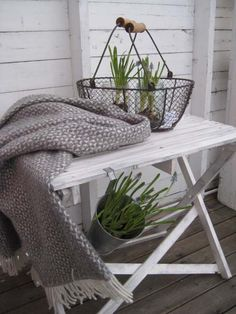 I love the gray, white and greens together!