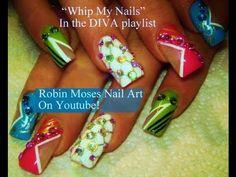Nail Art Tutorial - DIY Geometric Rainbow Abstract Bling - YouTube