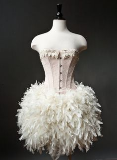 Private listing for ChloeFBlack ivory feather corset by Glamtastik
