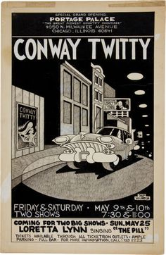 Conway Twitty - May 1975 - Portage Palace in Chicago - Art by Skip Williamson - (Nanny's favorite singer!)