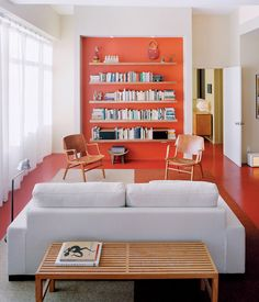 Stylish Paint Colors And Ideas For Your Living Room.  good use of paint color to segment focal points for the room.