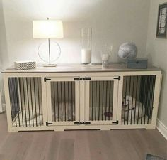 Indoor wooden dog crate! Brilliant!
