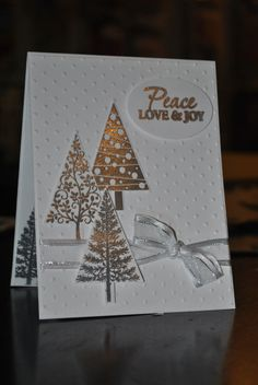 Stampin up Festival of Trees handmade Christmas Card Set of