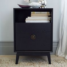 "marguerite nightstand (overall: 18.5""w x 18""d x 27""h; cabinet: 17.25""w x 16""d x 12""h; shelf: 6""h) 