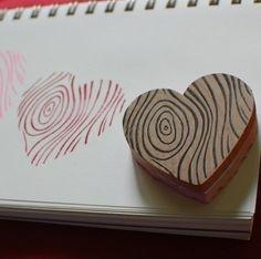 faux bois heart hand-carved stamp from littletjane $18