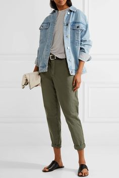 James Perse - Cropped Brushed Stretch-cotton Pants - Army green - 30