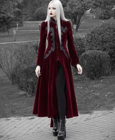 Red Gothic Palace Swallow Tail Long Dress Jacket For wWomen . Gothic Outfits, Gothic Dress, Dress Jackets For Women, Gothic Jackets, Character Outfits, Gothic Girls, Jacket Dress, Gothic Fashion, Cute Outfits
