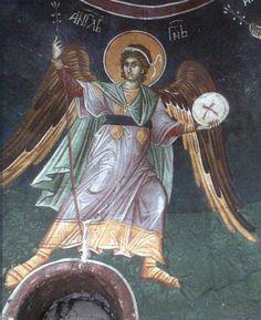 Byzantine Icons, Byzantine Art, Religious Images, Religious Art, Fresco, Order Of Angels, Archangel Gabriel, Church Interior, Orthodox Icons