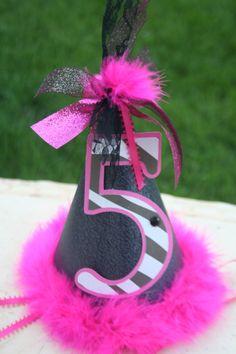 Hot Pink and Zebra Birthday Party Hat by melizabethdesign on Etsy, $12.50