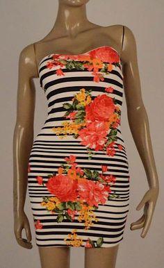 Vestido straple flores $95.000 Tallas S, M y L
