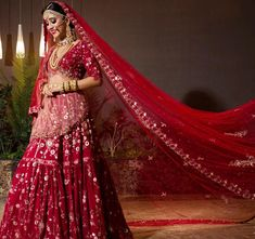Celebs Who Wore The Quintessential Red Lehengas With A Twist! Indian Photoshoot, Bridal Photoshoot, Bridal Shoot, Indian Bridal Photos, Indian Bridal Fashion, Indian Bridal Lehenga, Red Lehenga, Pakistani Lehenga, Bridal Looks