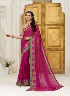 Buy latest collection of designer sarees including variety of sarees. Order this georgette magenta designer saree for festival and party.