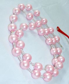 Pretty in Pink Glass Pearl and Clear Beaded Eyeglass Lanyard by nonie615, $21.00 I can convert to an id name tag or key lanyard.