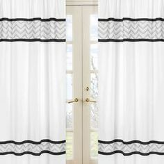 """Cotton curtain with chevron stripe details.  Product: Set of 2 curtainsConstruction Material: CottonColor: BlackDimensions: 84"""" H x 42"""" W eachCleaning and Care: Machine washable. Tumble dry low."""
