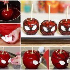 DIY Cool Spiderman Candy Apples