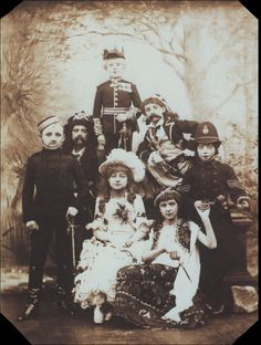 "Photograph of (from top left across rows) Edward Percy as Major-General Stanley, Stephen Adeson as the Pirate King, William Pickering as Samuel, Harry Trebbutt as Frederic, Charles Adeson as the Sergeant of Police, Elsie Joel as Mabel and Georgie Esmond as Ruth in ""The Children's Pirates of Penzance,"" cast of the 1884 ""Pirates of Penzance"" revival performed by children at the Savoy Theater."