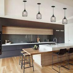25+ Innovative Black White Wood Kitchens Design Ideas #kitchendecor #kitchendesign #kitchenideas ~ Beautiful House