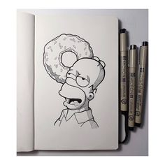 DAY I d'ohnut know what to draw for these prompts anymore 😬🍩 Swipe to see the inking process. Dark Art Drawings, Pencil Art Drawings, Art Drawings Sketches, Easy Drawings, Easy Disney Drawings, Simpsons Drawings, Cartoon Drawings, Cartoon Art, Spongebob Drawings