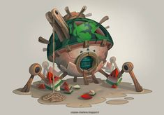ArtStation - Fruit Houses, Charlène Le Scanff (AKA Catell-Ruz) Game Character, Character Design, Building Concept, Building Structure, Cartoon House, Game Assets, 2d Art, Game Design, Fantasy