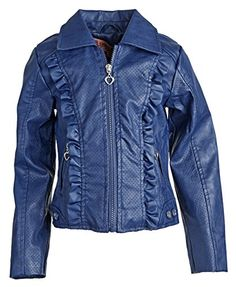 f349d2f53942 Urban Republic Big Girls PU Leather Vent Design Spring Jacket with Print  Lining - Navy (Size