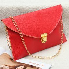 Mulheres PU Leather Crossbody Saco Envelope Clutch Bolsa de Ombro Cadeia - NewChic