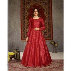 Buy Gowns - Discover the wide range of designer gowns online Party Wear Gowns Online, Printed Gowns, Floor Length Gown, Designer Gowns, Silk Crepe, Range, Metal, Red, Prints