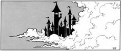 Castle in the clouds, by Erol Otus from AD module Q1: Queen of the Demonweb Pits, TSR, 1980.