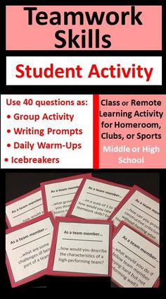 Teamwork skills are essential for sports, school projects, work groups, and clubs. This card set helps students be effective team members, reflect on group dynamics, and improve overall performance. Use questions as an engaging group activity, warm-up tool, or writing prompts for classroom, homeroom, club, or sports team situations. Includes 40 cards plus blank templates for student-, teacher-, or coach-generated questions.