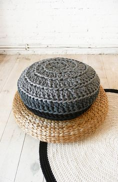 Floor Cushion Crochet  Thick Cotton  Gray and por lacasadecoto, €59.00