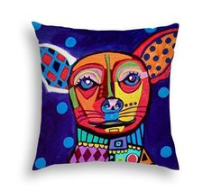 Chihuahua Gift Art Pillow Modern Abstract Art by Heather Galler- 5 Sizes to Choose From