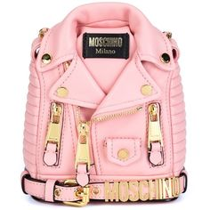 Moschino mini biker jacket backpack (£1,385) ❤ liked on Polyvore featuring bags, backpacks, handbags, pink backpack, pink mini backpack, hardware bag, day pack backpack and mini bags