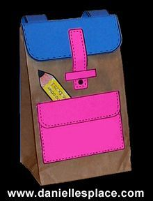 Free Paper Lunch Bag Back-to-school Backpack Craft for Kids www. - - Free Paper Lunch Bag Back-to-school Backpack Craft for Kids www. Back To School Crafts For Kids, Back To School Art, 1st Day Of School, Back To School Activities, Beginning Of School, Pre School, Activities For Kids, School Week, School Kids